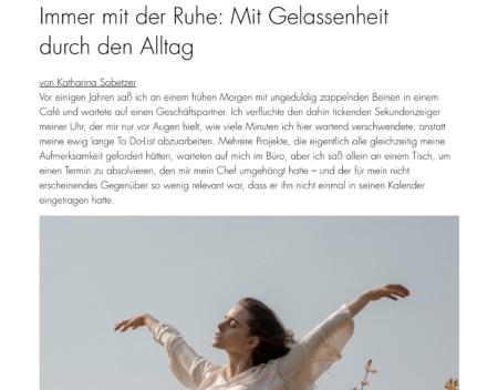 """Einleitung des Artikels """"Strategien für mehr Gelassenheit"""" für myGiulia"""